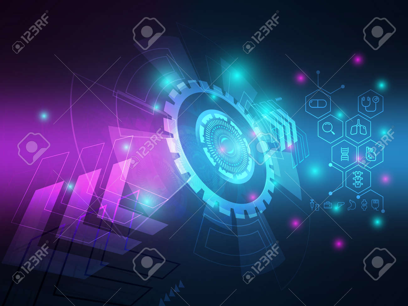 abstract technology hi-tech with medical icons background vector illustration - 166948473
