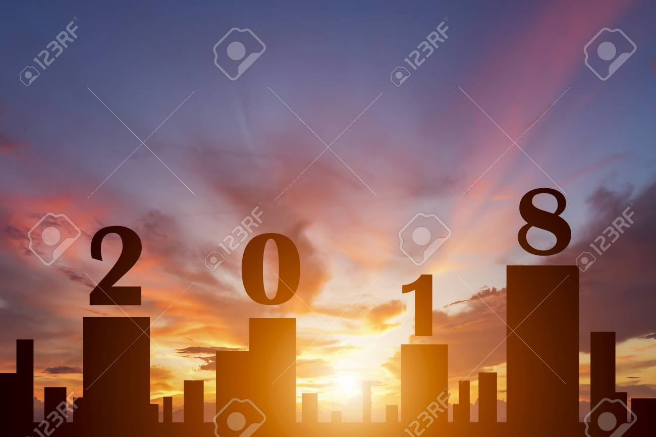 Silhouette of city in sunset with text 2018 for new year concept - 90573082