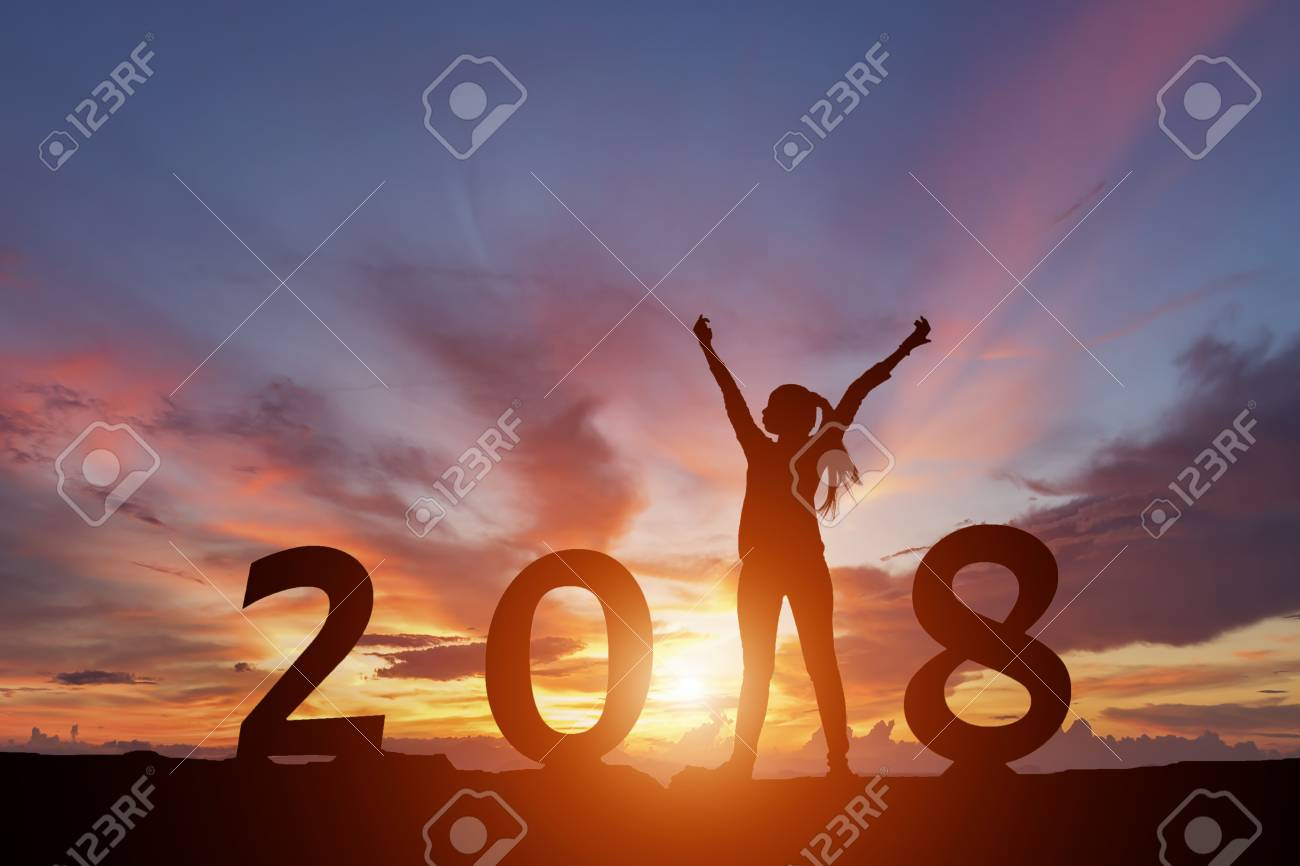 Silhouette of happy woman with New yeay 2018 concept in sunset background. - 90508071