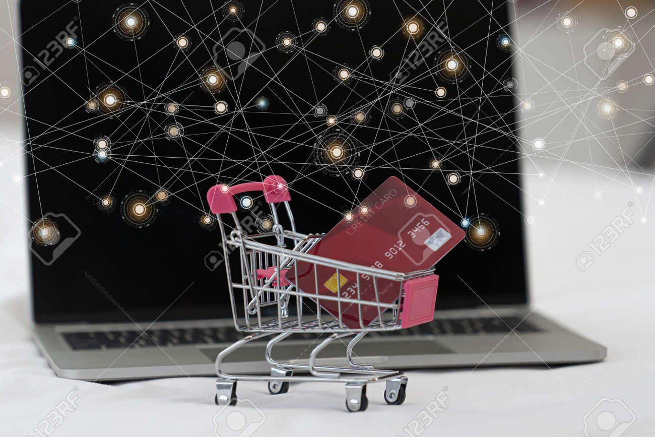 Credit card in shopping cart.Blockchain finance web money business concept. - 170799340