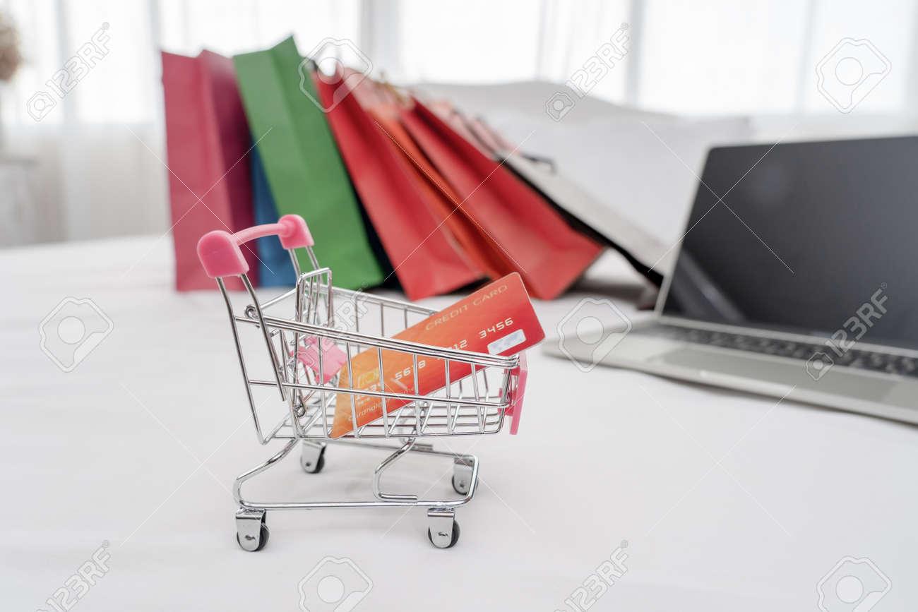 Credit card in shopping cart.Blockchain finance web money business concept. - 170974477