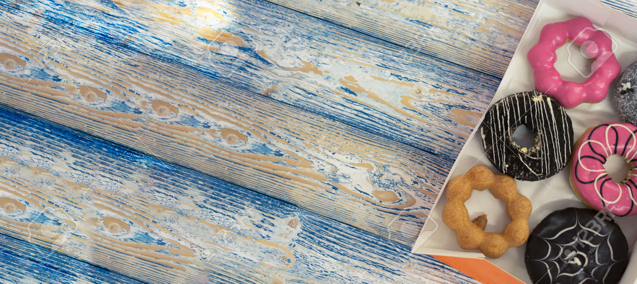 Donut on wooden background sweet food - 170974605