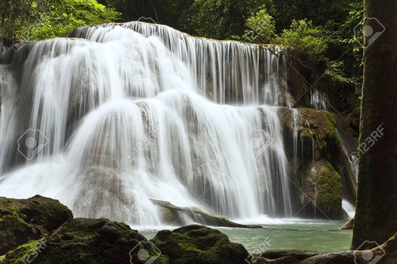 Called Huai Mae Kamin Waterfall, Kanchanaburi is Thailand. Stock Photo - 7037967