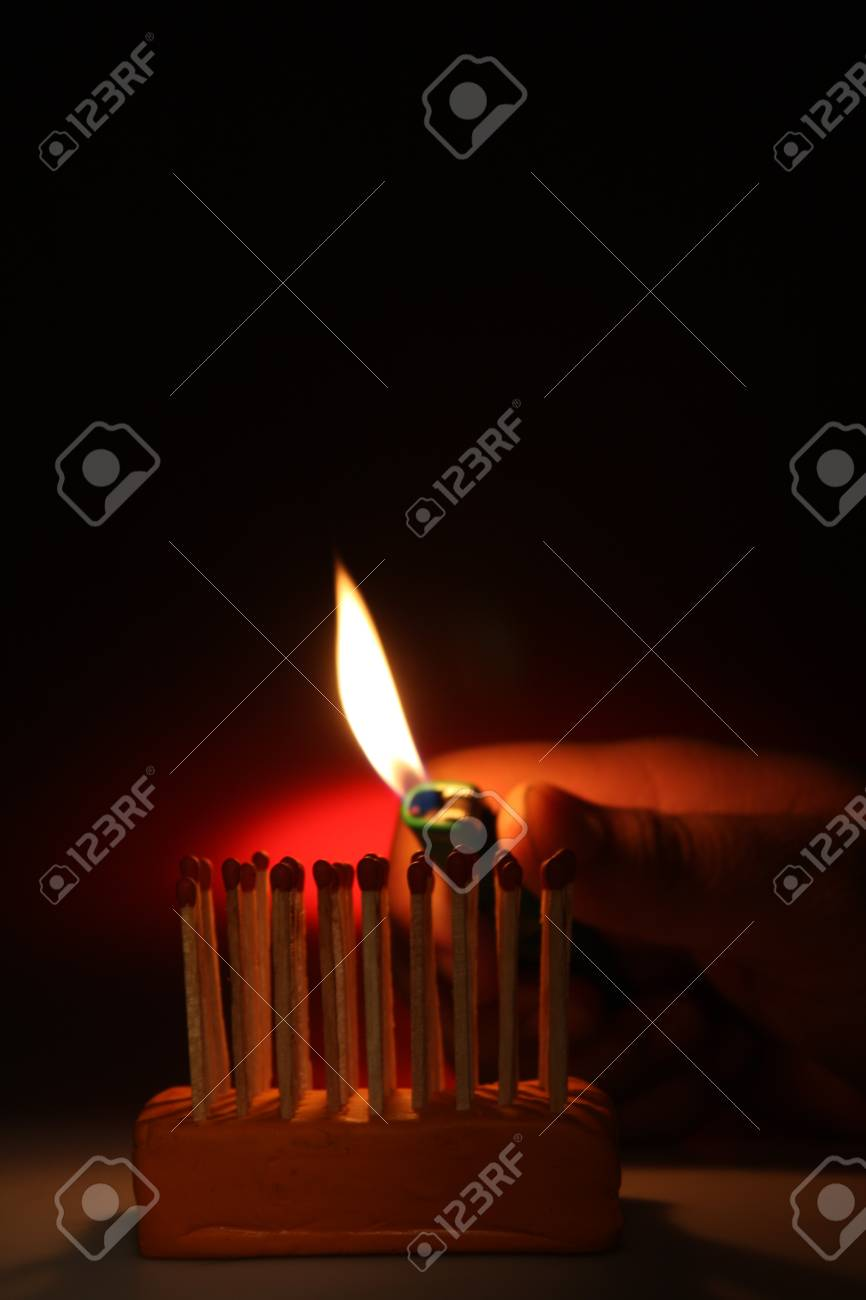 Burning matches on a black background Stock Photo - 13126467