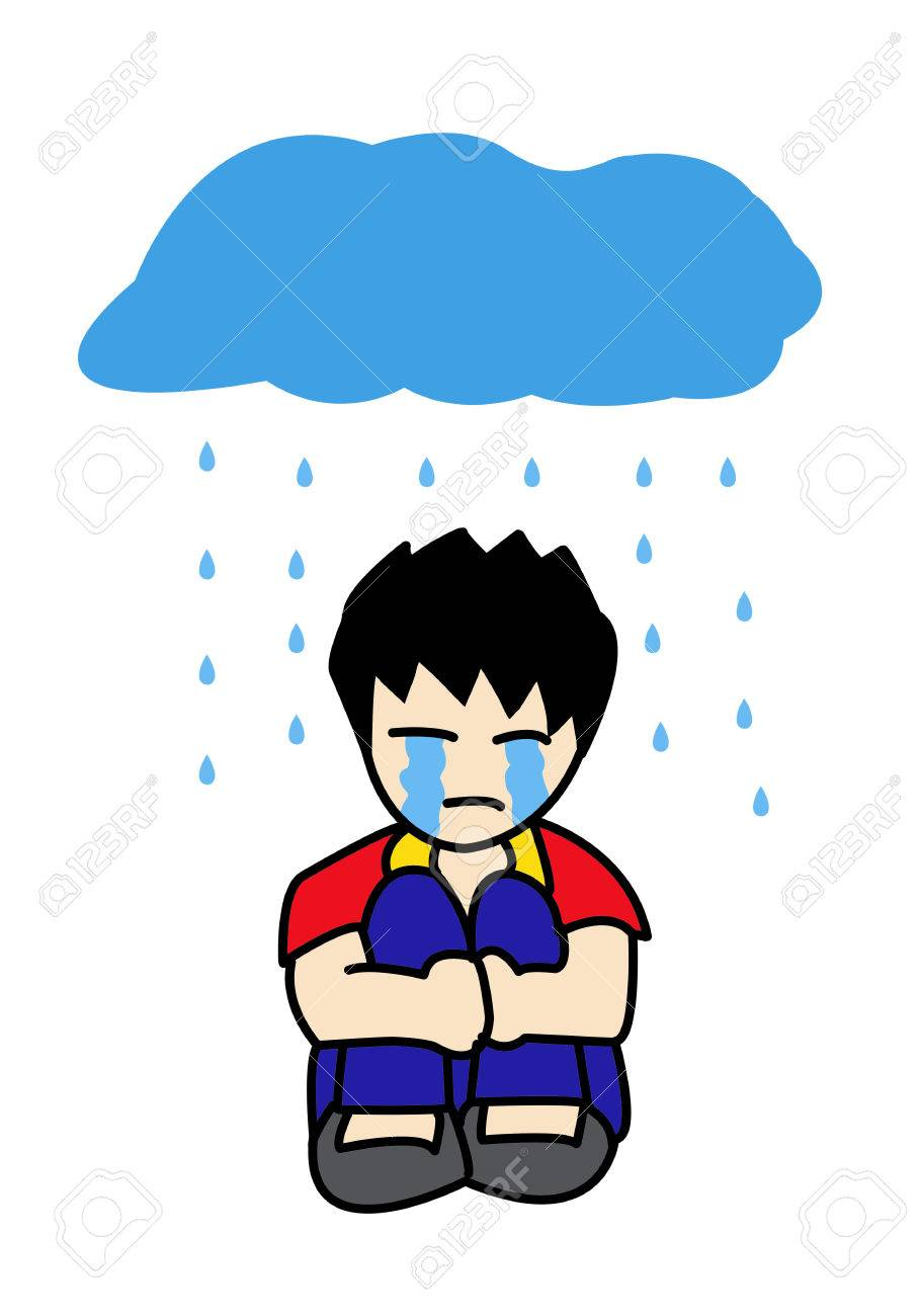 Sad boy cartoon stock photo 25245331