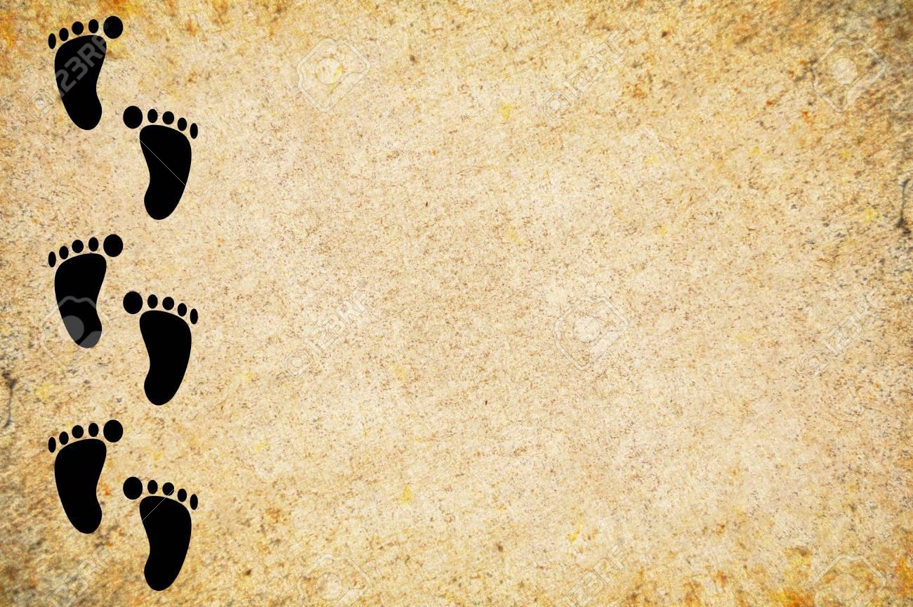 Footprint On Grunge Brown Illustration Background Stock Photo ...