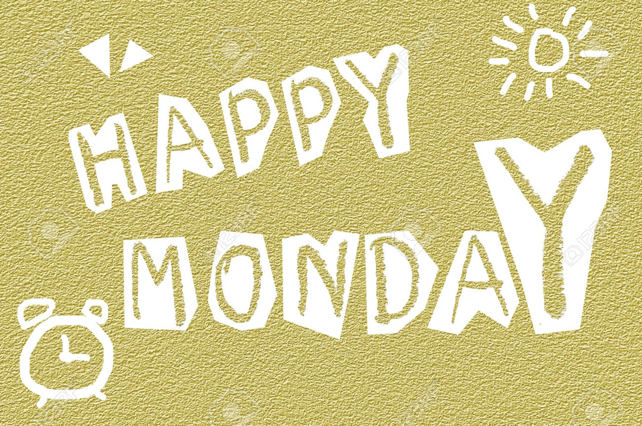 Text Happy Monday On Grunge Yellow Illustration Background Stock