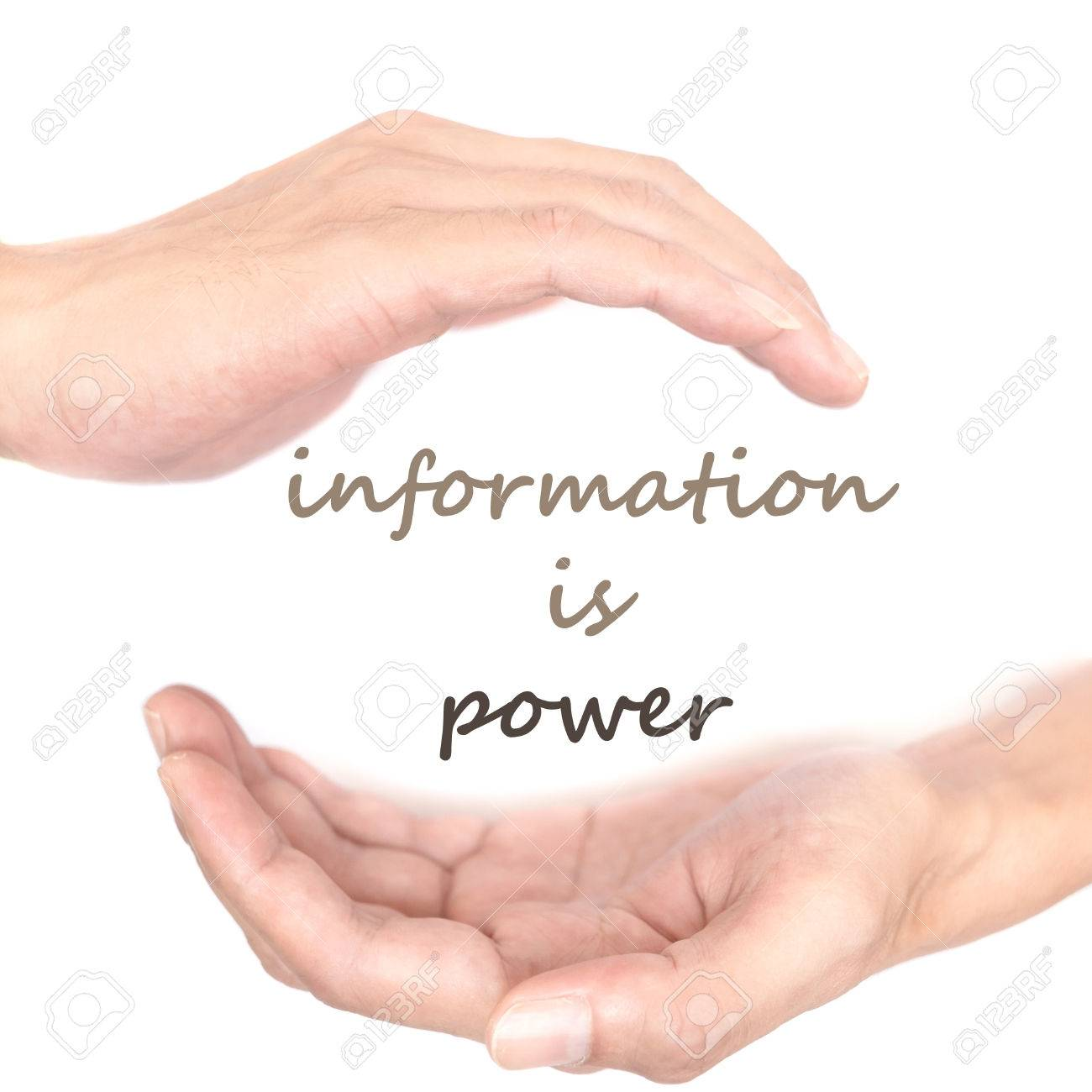 Hands Concept For Information Is Power Quote Is Between Right