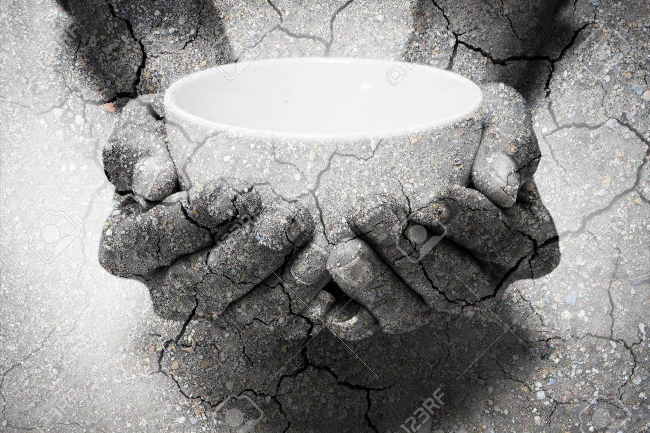 Double exposure hunger begging hands and dry soil. Represent that lot of people in the world are hungry and starvation, they need help and hope for better life - 53433889