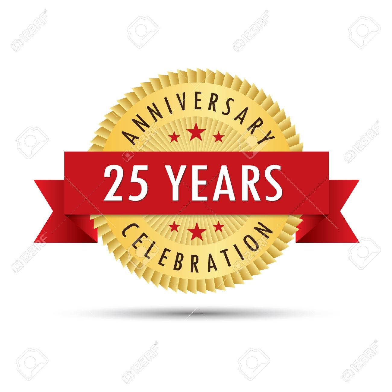 Twenty five years anniversary, twenty fifth anniversary celebration gold badge icon logo vector graphic design - 60970087