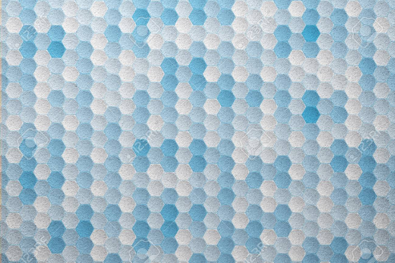 White And Blue Hexagon Geometric Pattern Frosted Glass Texture