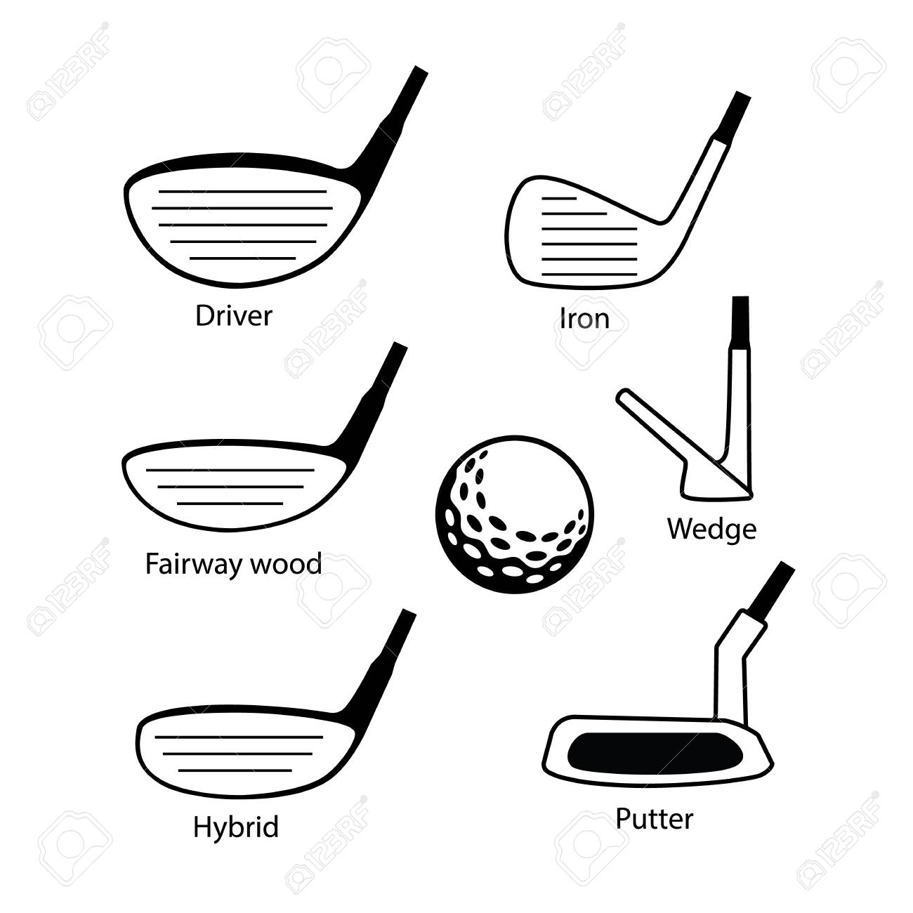 Set Of Golf Club Icons Graphic Design Including Driver Fairway Royalty Free Cliparts Vectors And Stock Illustration Image 71713968