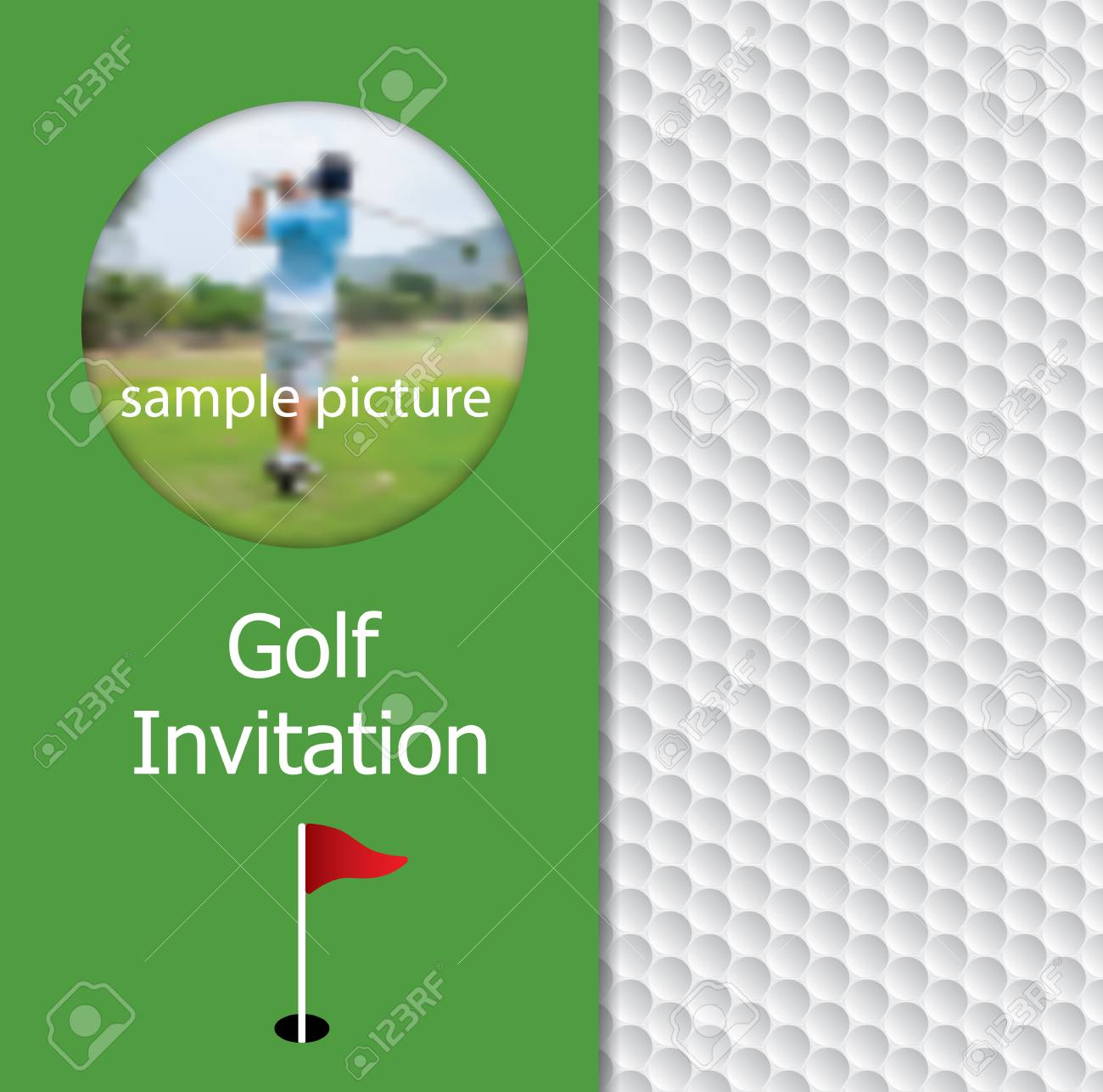 Golf Tournament Invitation Flyer Template Graphic Designvon Ball Pattern Texture And Sample Picture Stock