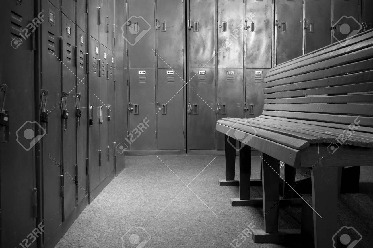 Dramatic Black And White Old Locker Room. Old Steel Cabinet And Wooden  Bench In Sport