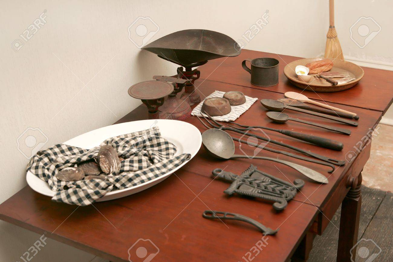 Kitchen Setup a typical kitchen setup from the american revolution stock photo