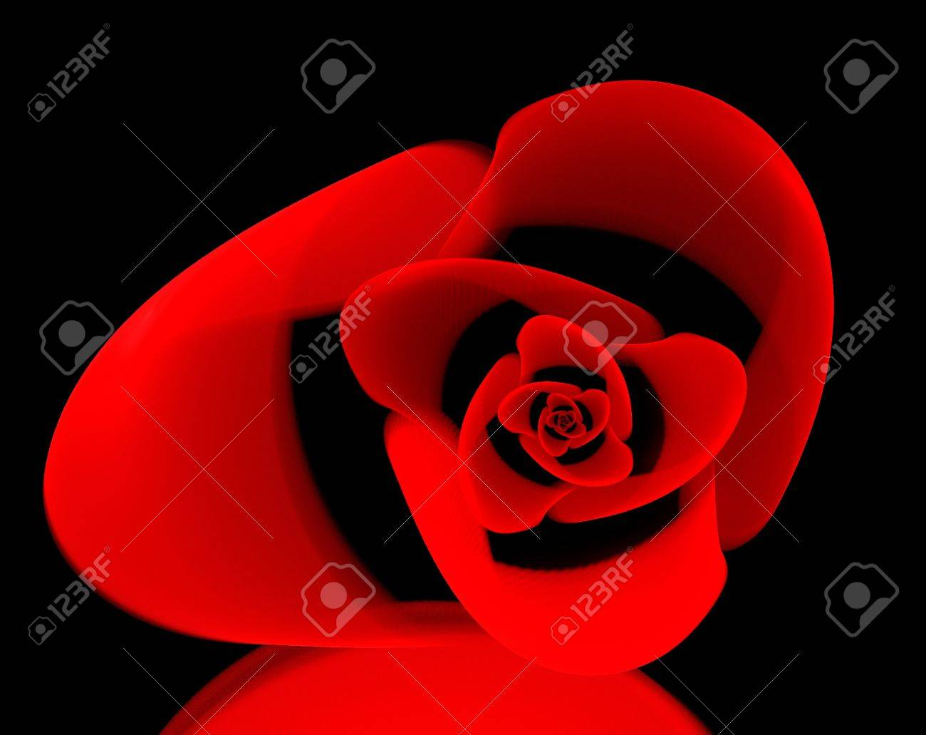 Rose Shape Fractal Red Colorful Abstract Wallpaper Design Over A Black Background Stock Photo