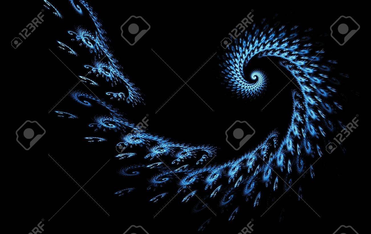 Fractal Blue Colorful Abstract Wallpaper Design Over A Black