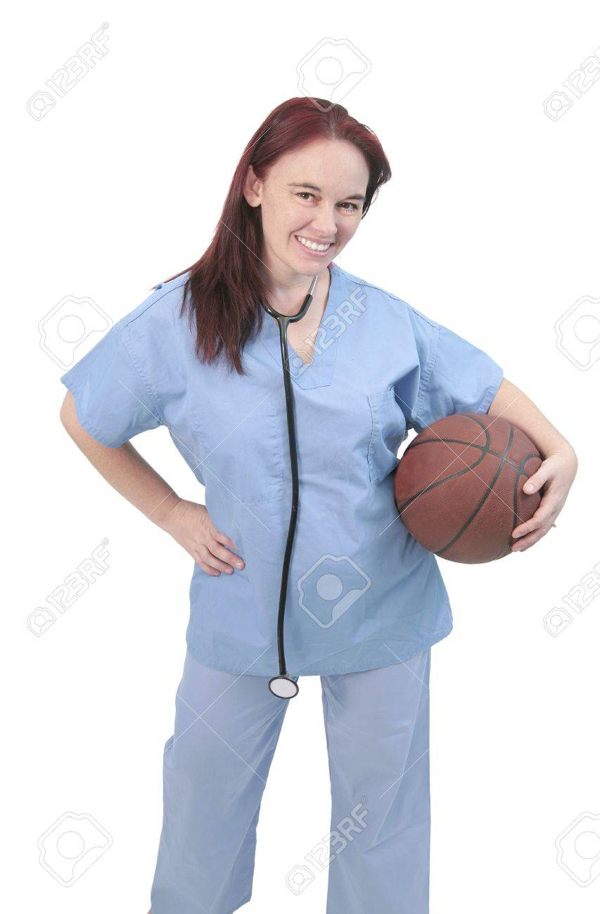 One Woman Sports Doctor Looking Hapy With Basketball And Stethoscope