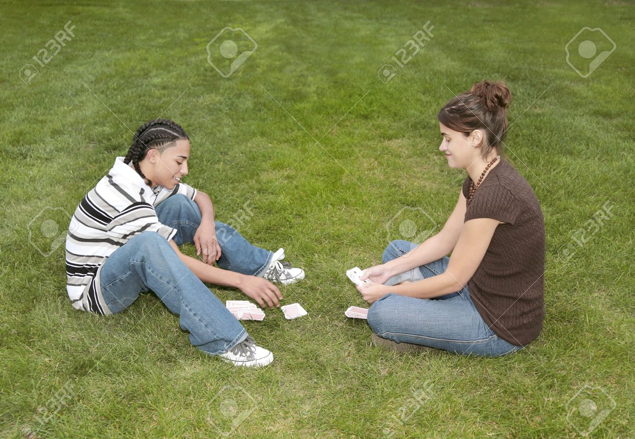 Two playing teens
