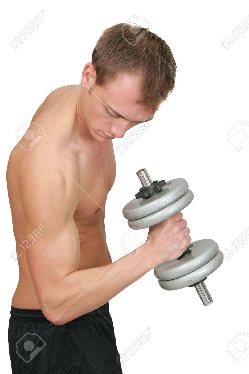 one young fit guy lifting weights flexing over white Stock Photo - 4989419