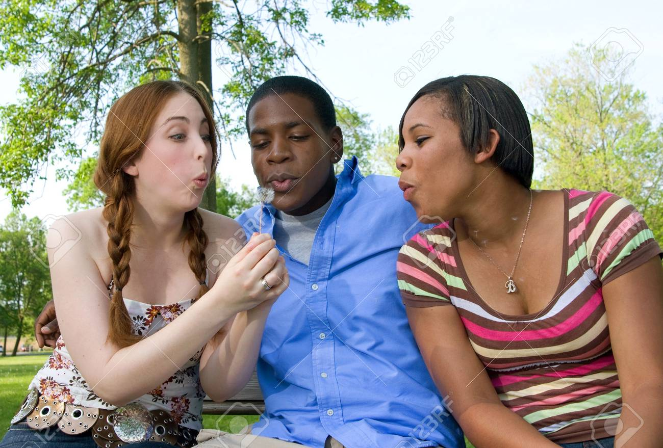 Waist-up shot of three teenagers outdoors, sitting side-by-side and blowing the fluff off a dandelion. Horizontal format. Stock Photo - 5795273