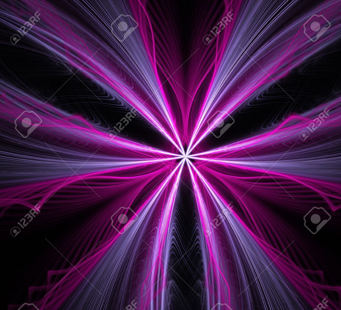 Purple Blue And White Streaks Flaring Outward On A Black Background Fractal Wallpaper With