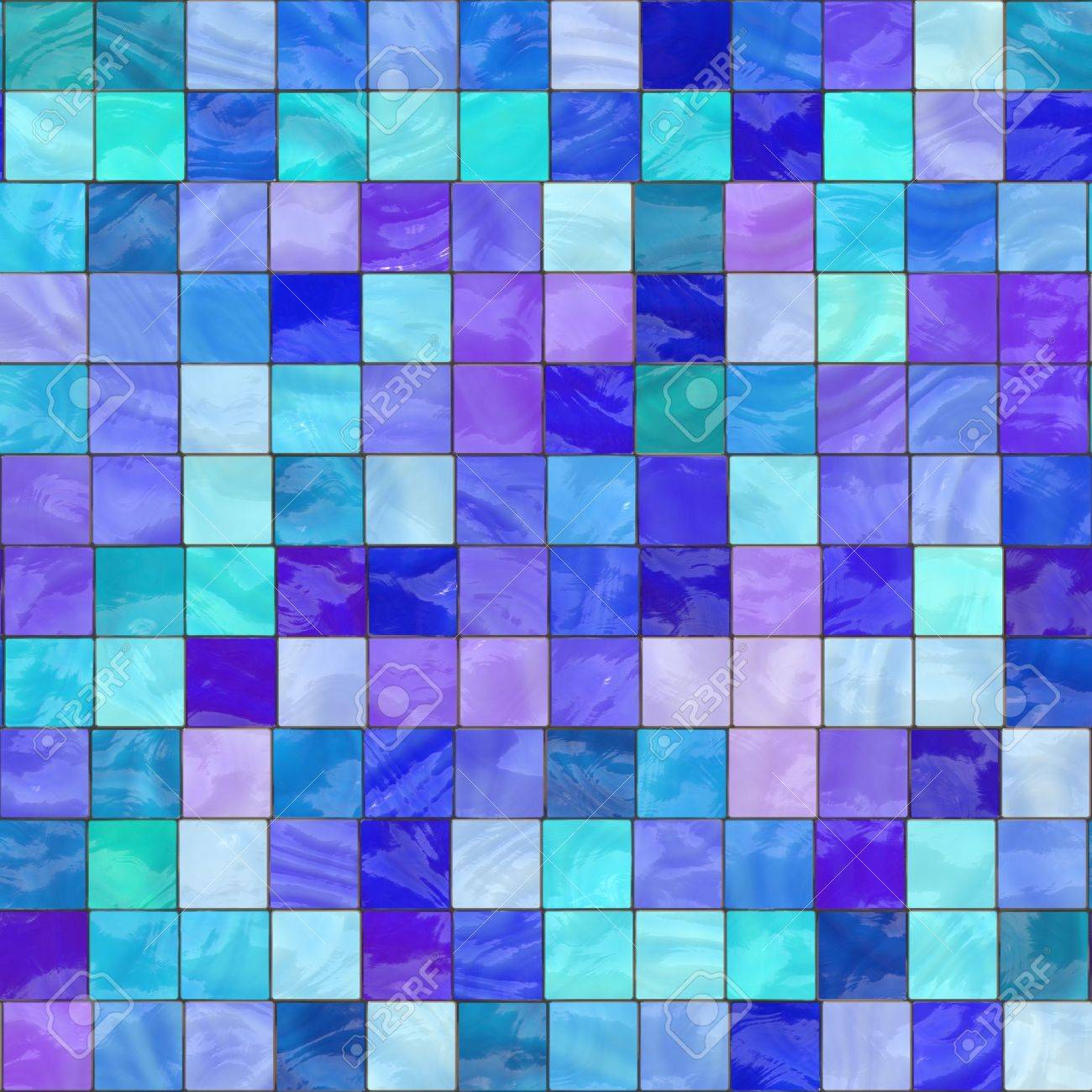 Computer Generated Blue Stained Glass With Teal And Purple. Tiles ...