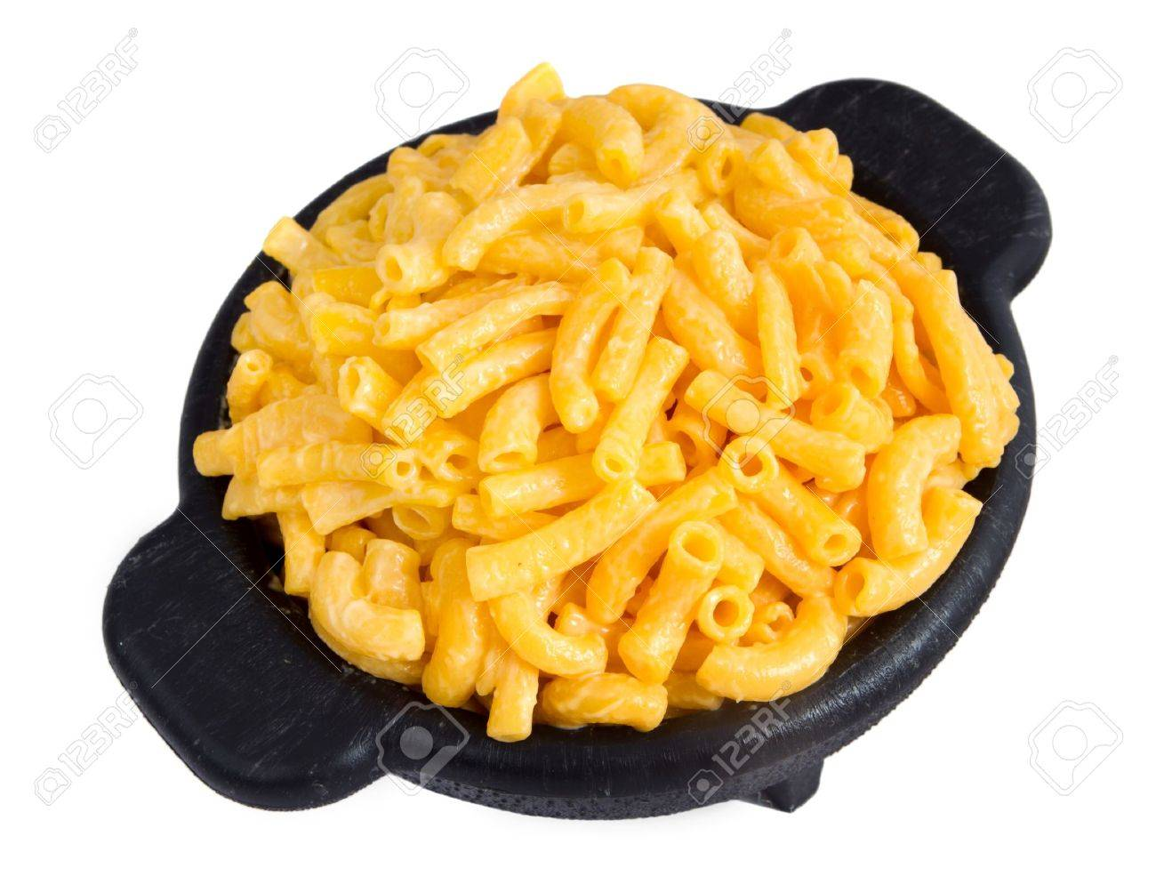 macaroni and cheese dinner on a yellow plate isolated over white Stock Photo - 7969526