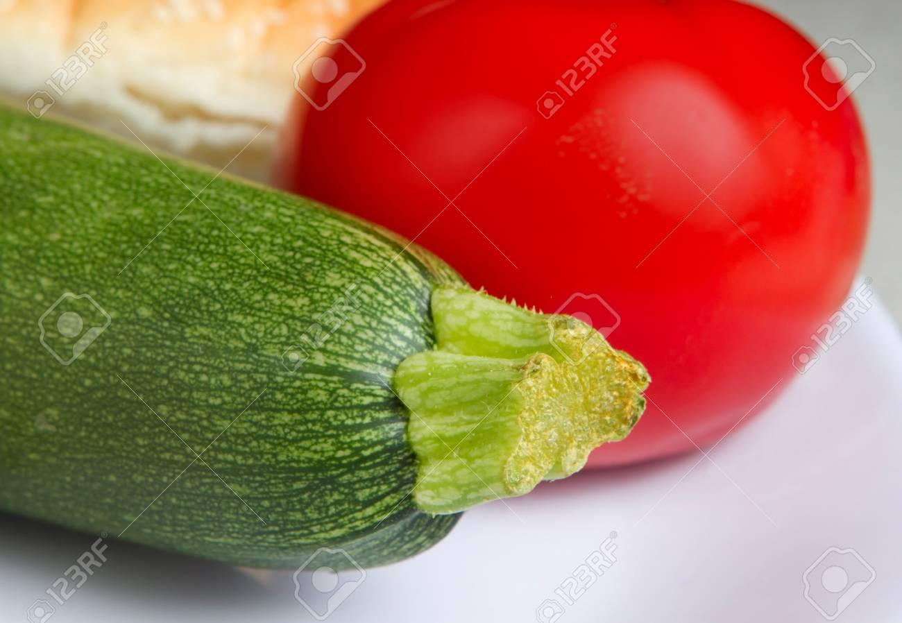 fresh zucchini and tomato with mozzarella and sub roll Stock Photo - 7969530