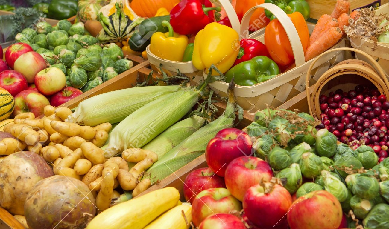 large harvest of fruits and vegetables Stock Photo - 8648659