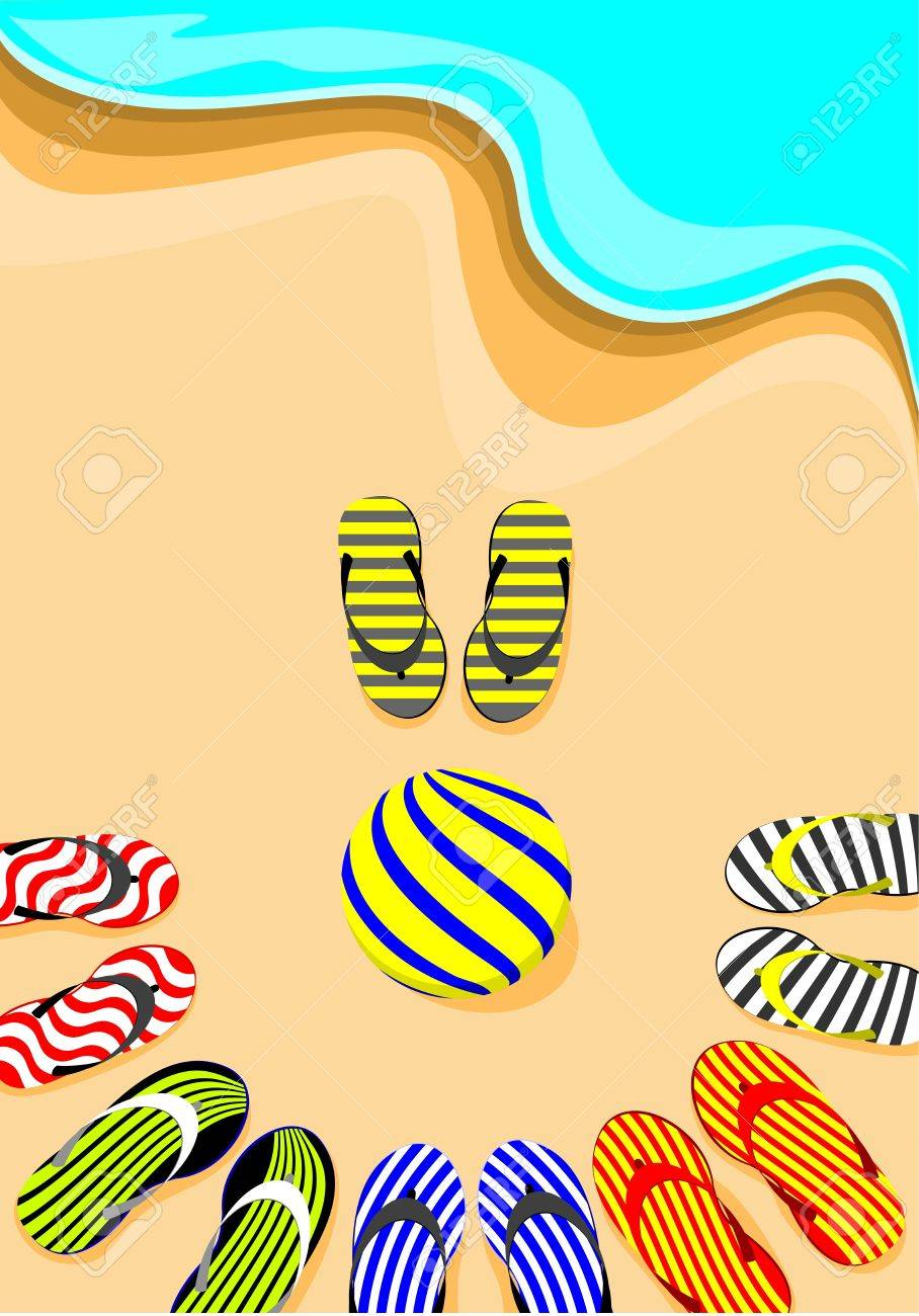 flip-flop and volley ball Stock Vector - 14919616