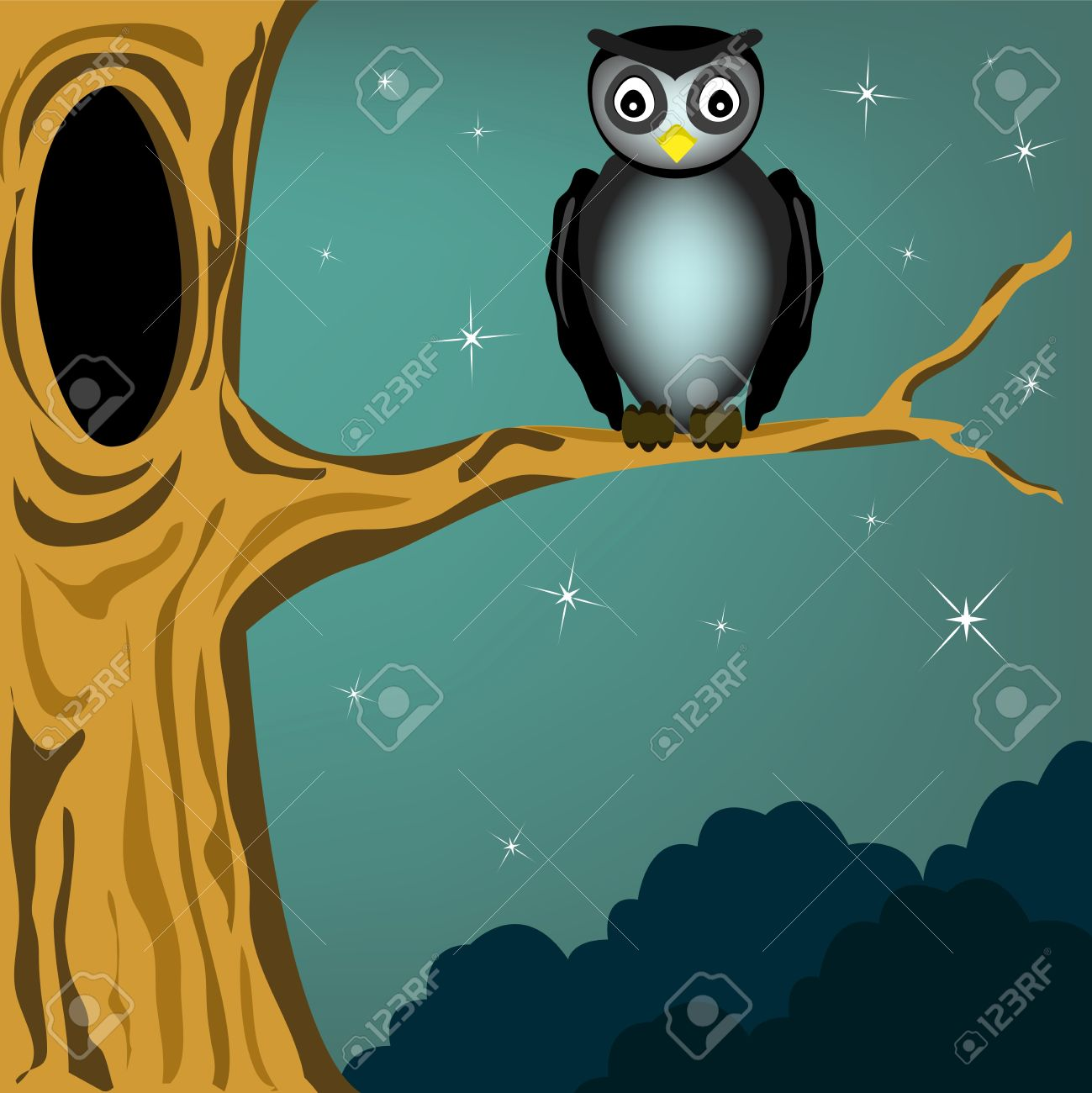 black owl in the dark night Stock Vector - 15842784