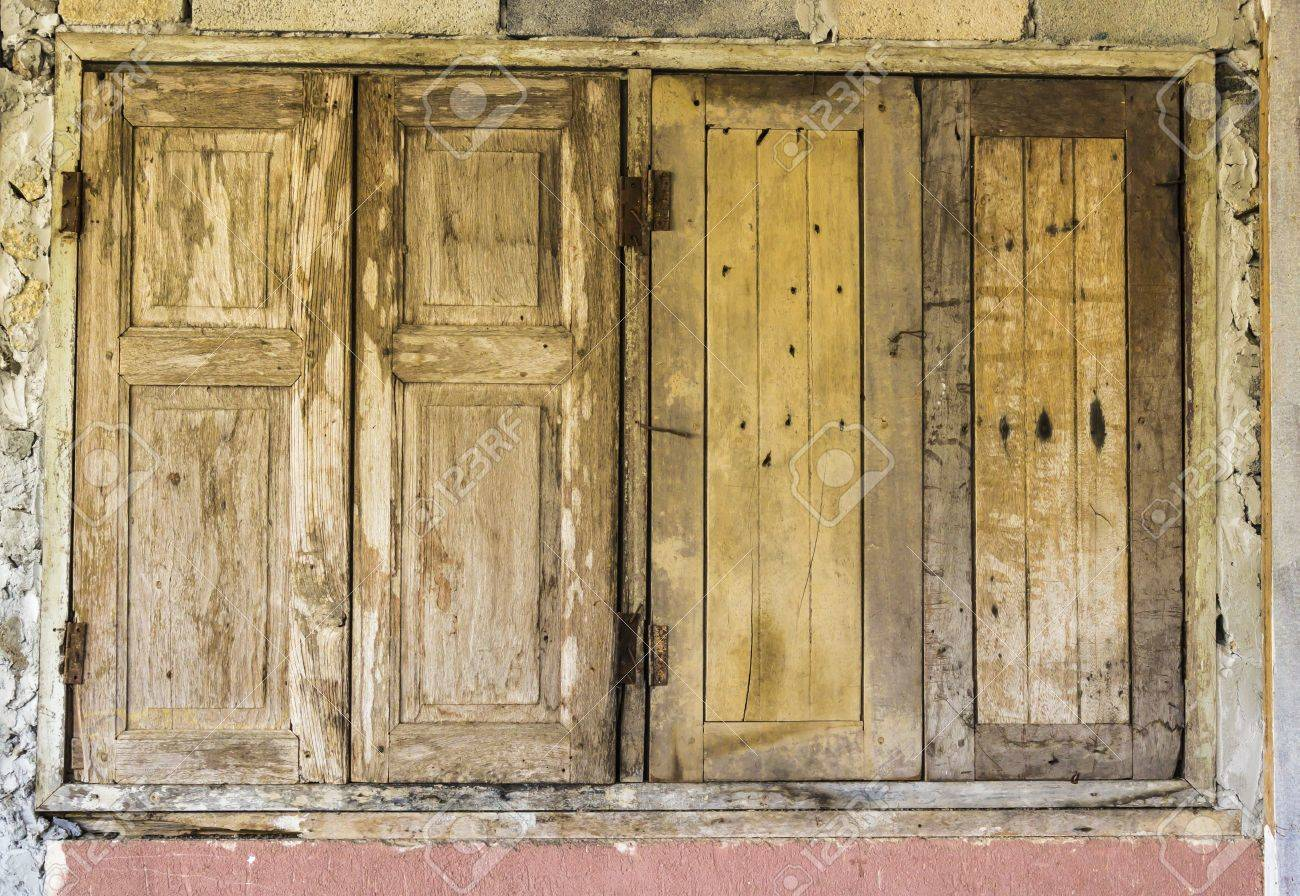 Closed Windows Texture With Old Wood Stock Photo Picture And