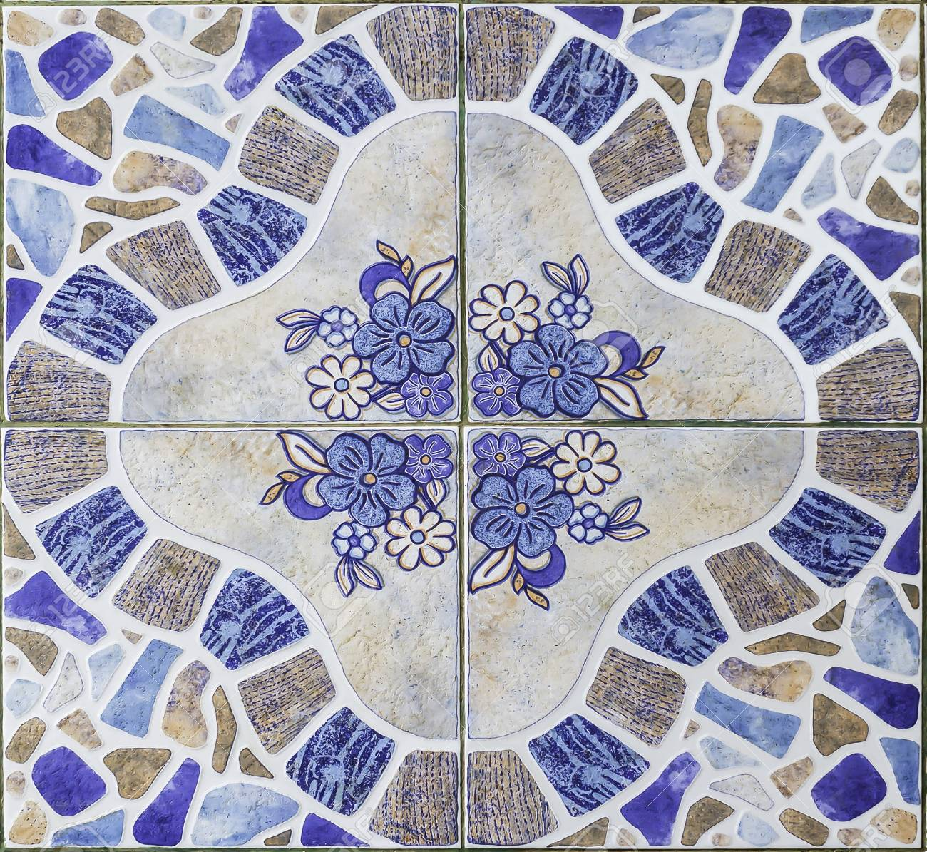Closeup Pattern Of Classic Pattern Floor Tiles Stock Photo, Picture ...