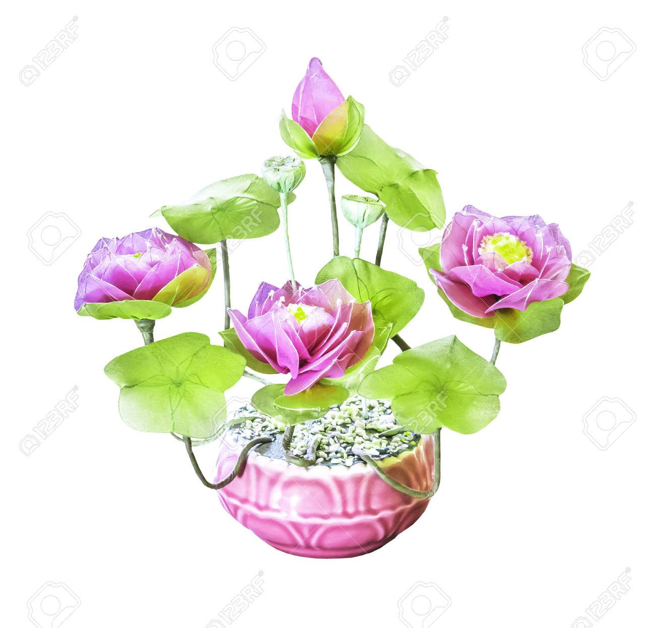Artificial Bouquet Lotus Flower Isolated On White Background Stock