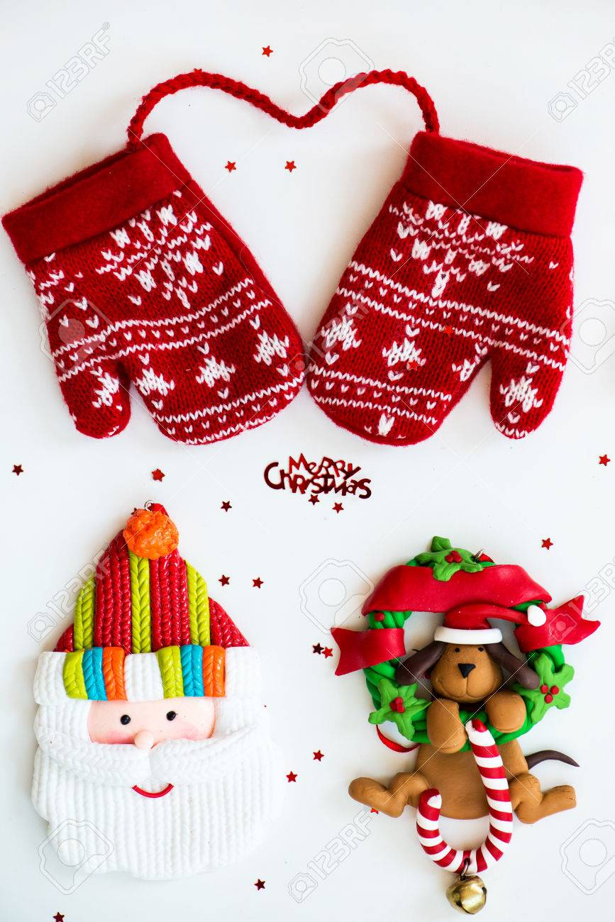 Merry christmas symbols letters red knitted mittens santa merry christmas symbols letters red knitted mittens santa dog on xmas wreath biocorpaavc