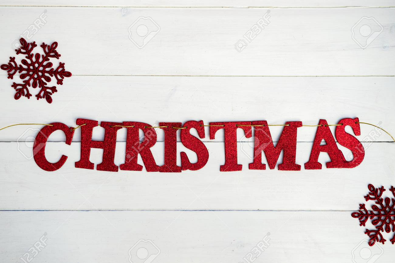 Word Christmas Made From Red Glittering Letters Placed On The