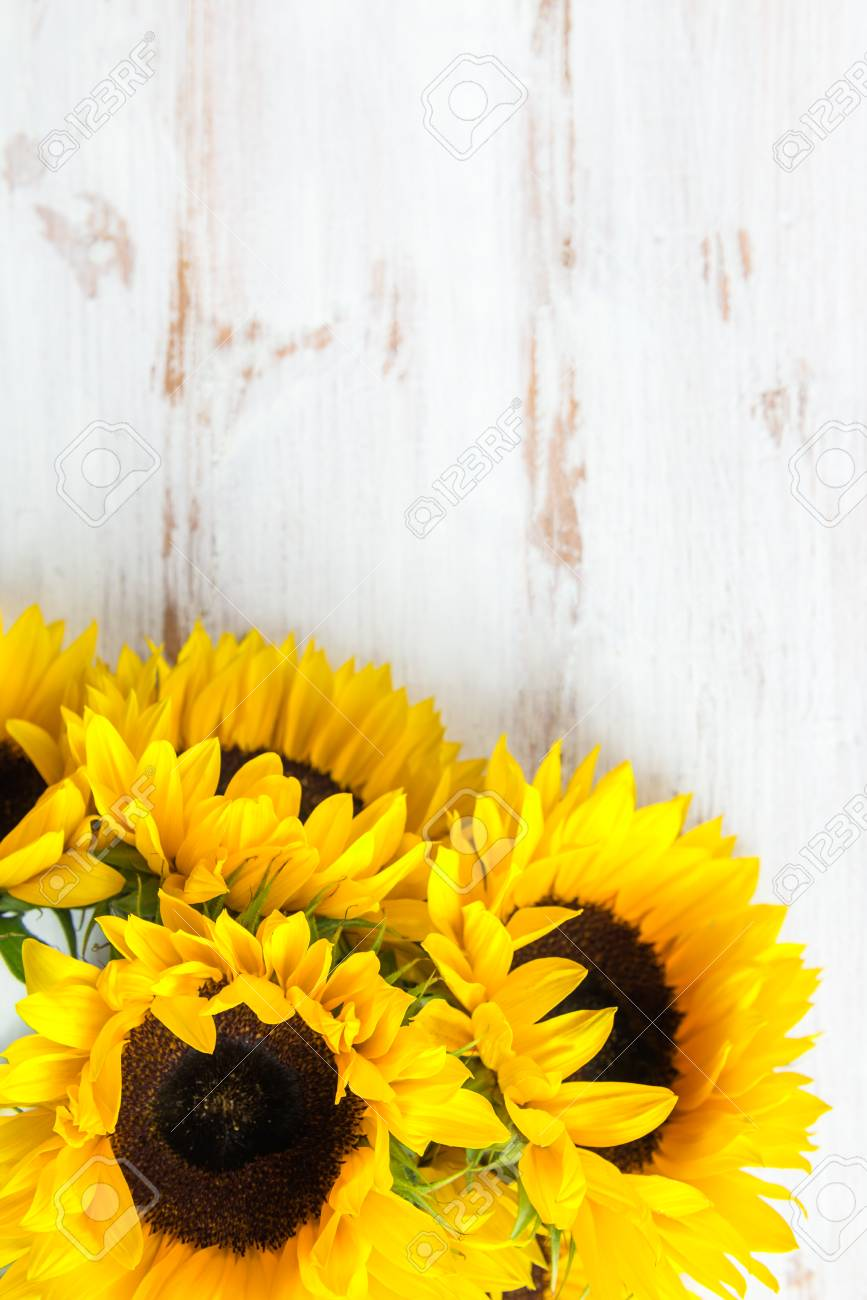 Yellow Sunflower Bouquet On White Rustic Background Autumn Concept