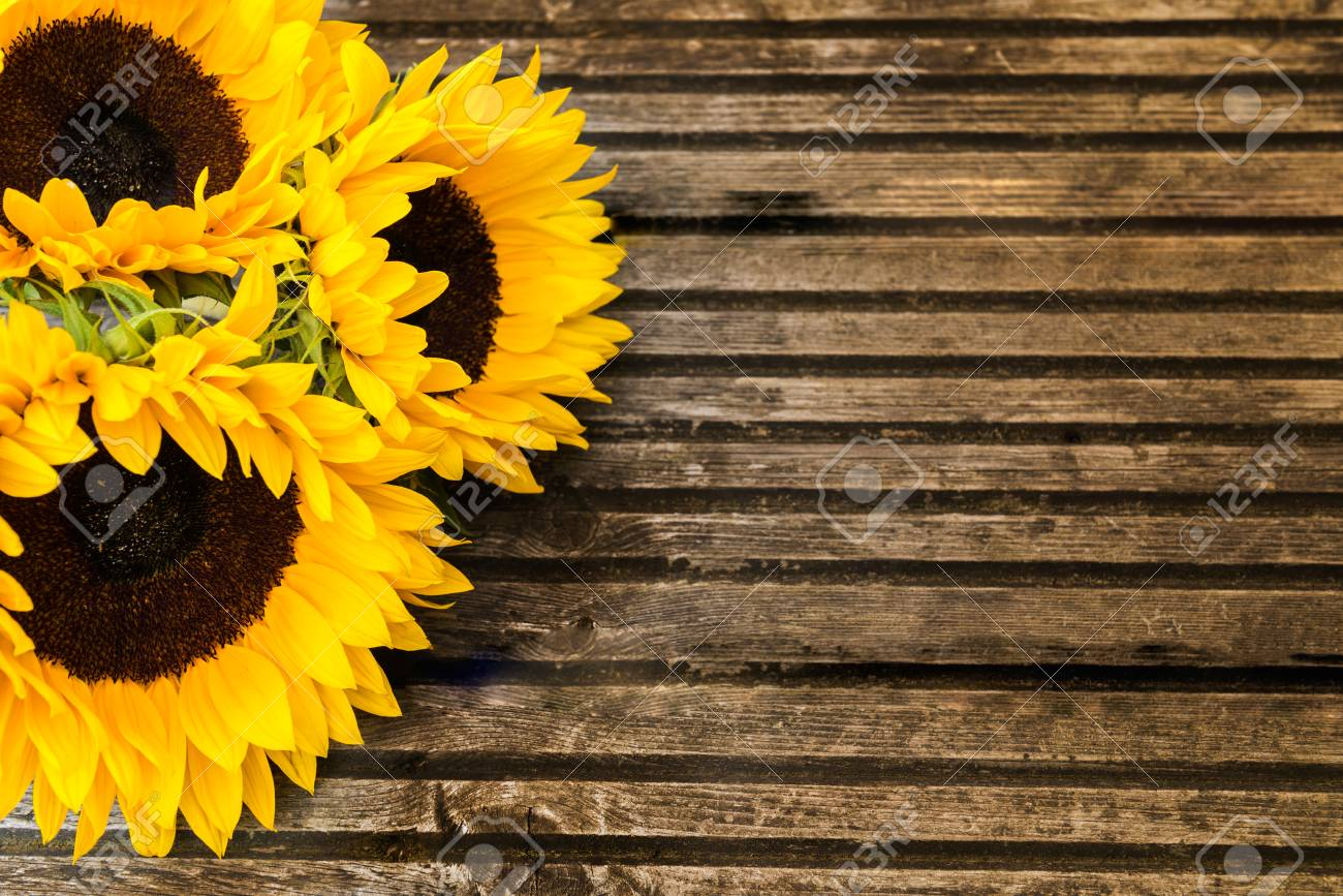 Yellow Sunflower Bouquet On Wooden Rustic Background Autumn Stock