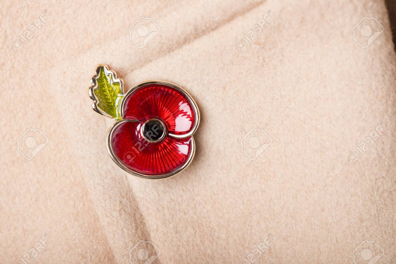 Red Poppy Pin as a Symbol of Remembrance Day, 11 November