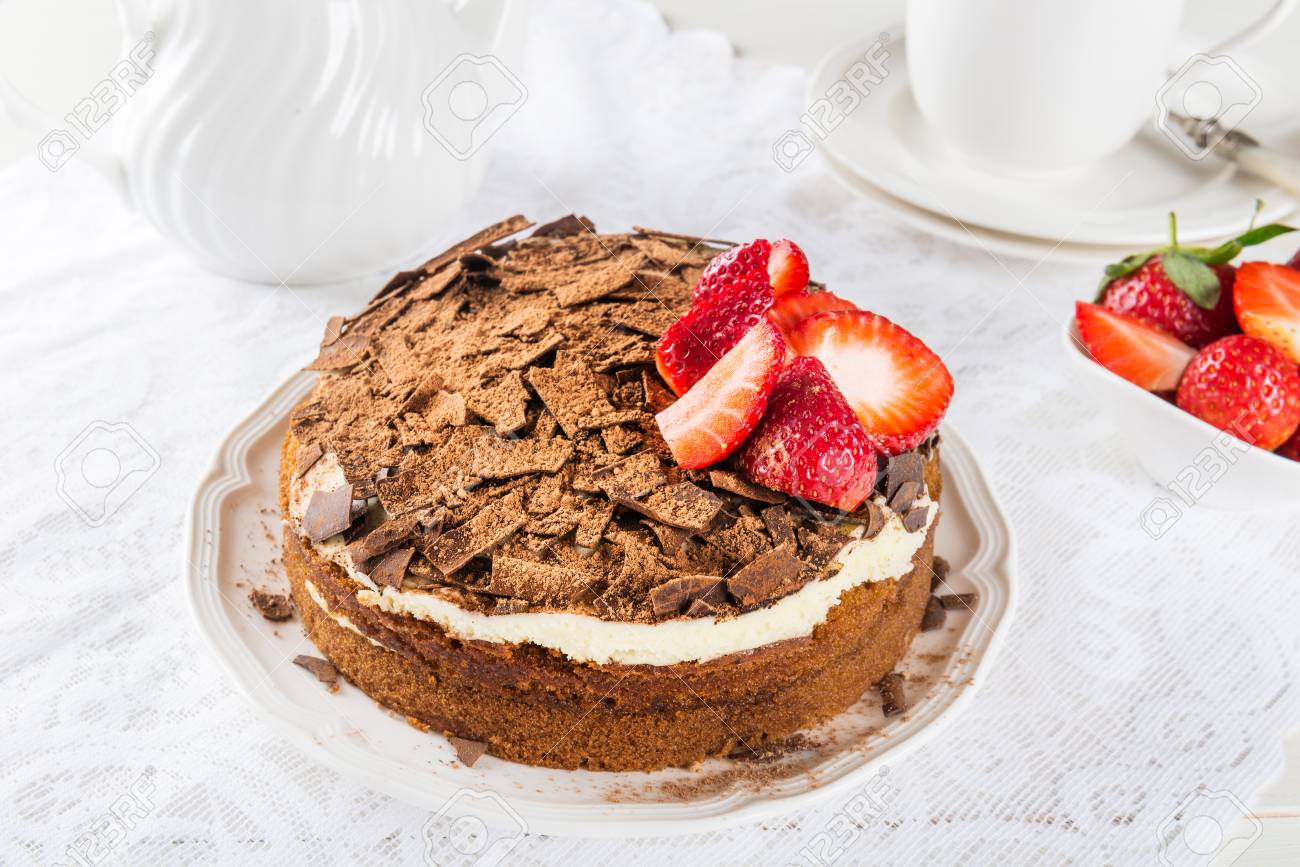 Coffee Cake Soaked With Coffee And Marsala Wine Filled And Topped