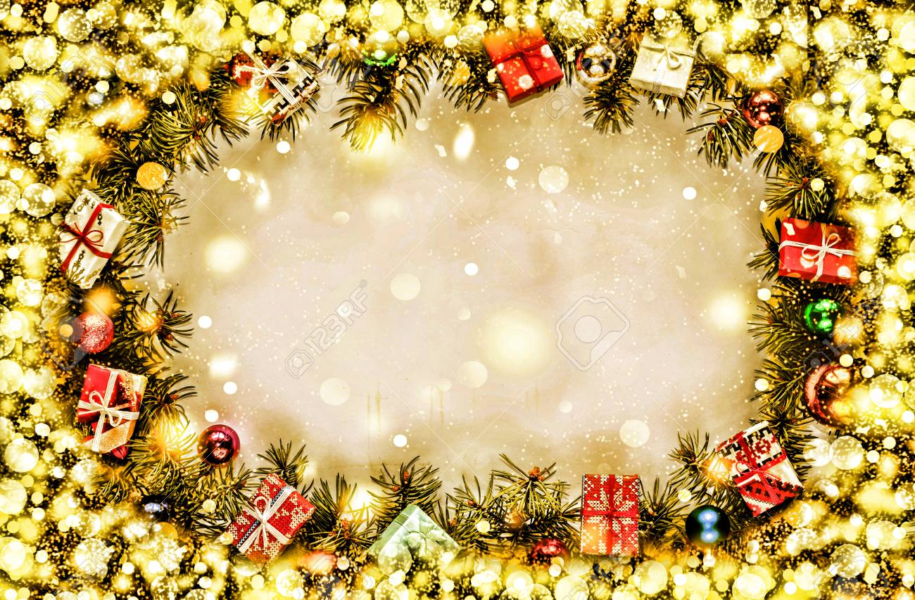 New Year. Background, Frame Of Christmas Tree Branches And Christmas ...