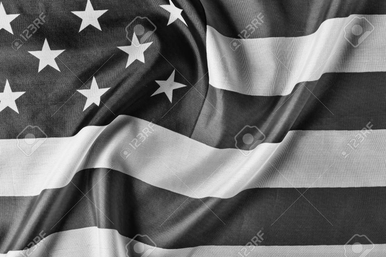 Black And White Usa Flag Background Close Up Concept