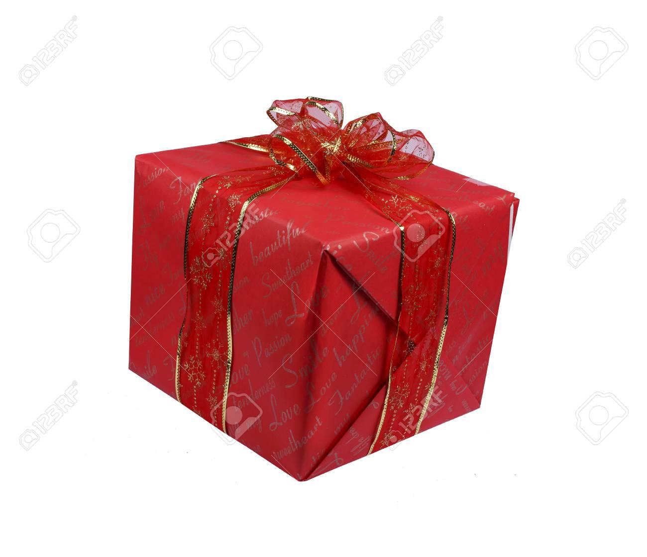 Holiday Christmas Birthday Gift Box Isolated White Background