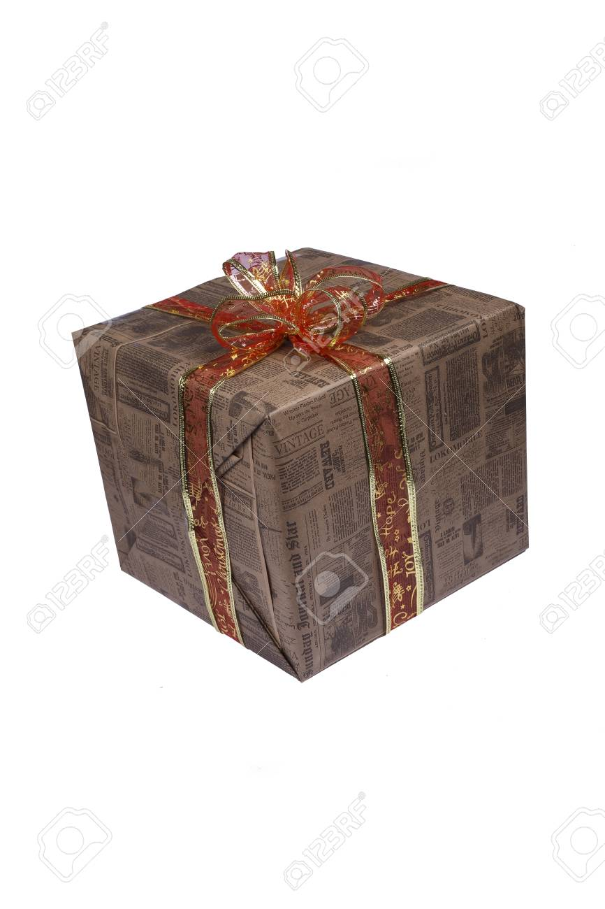 Holiday Christmas Birthday Gift Box Isolated White Background Copy Space