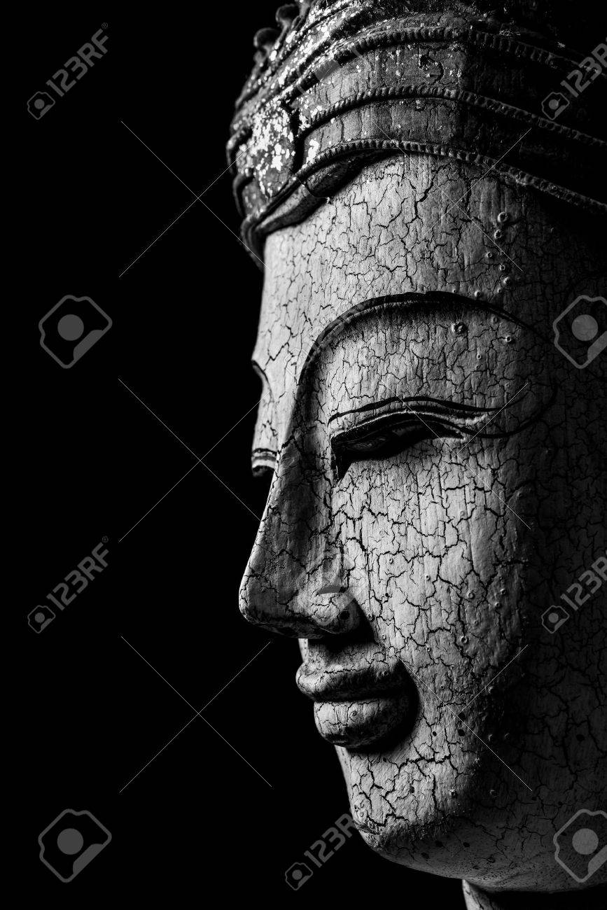 Still life black and white of buddha portrait on black background art and background