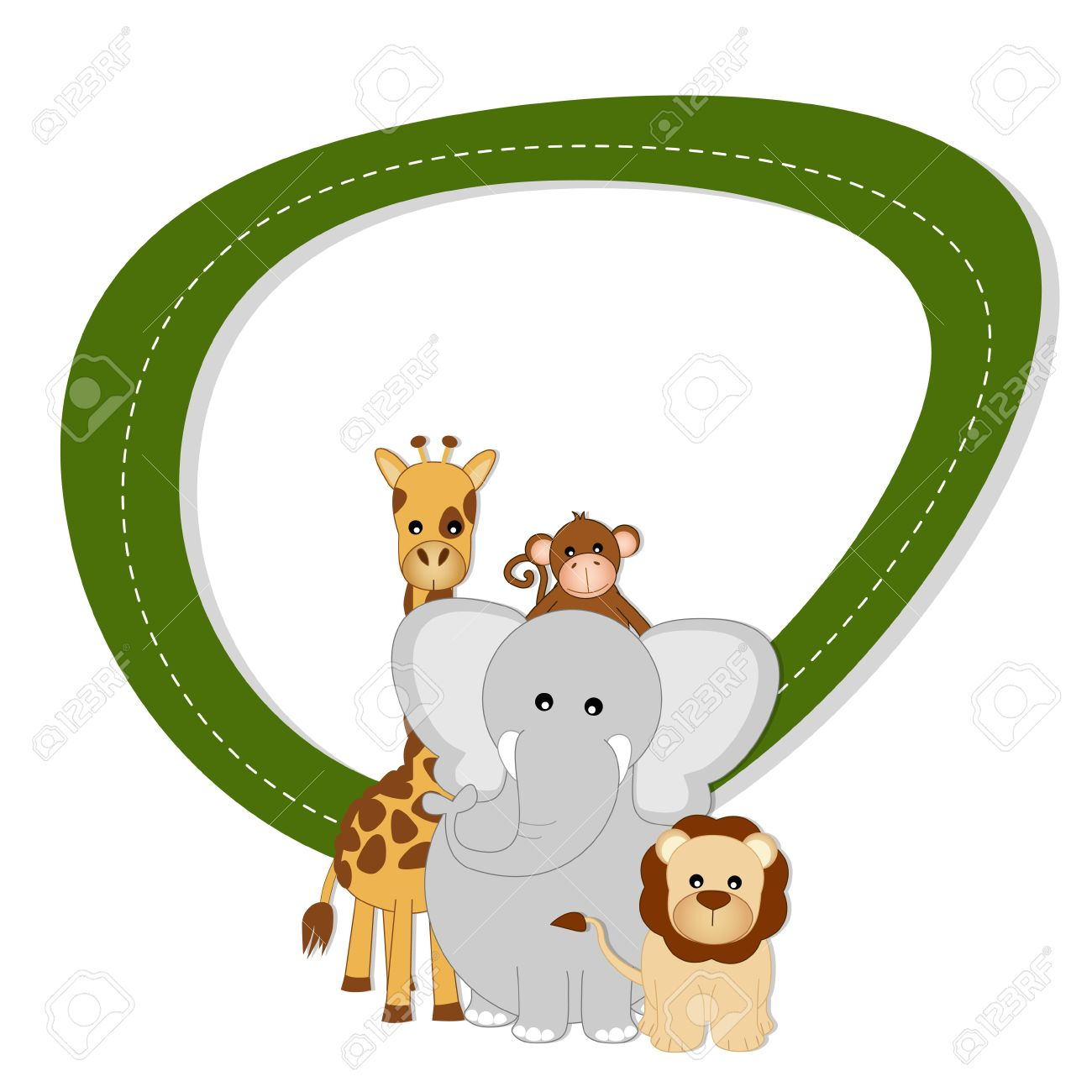 Savannah baby animals - lion, giraffe, elephant and monkey Stock Vector - 20982475