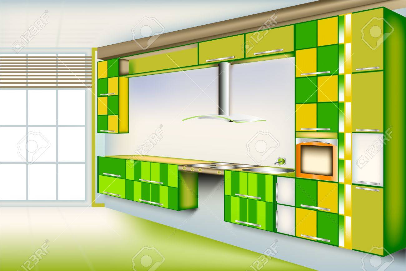 Lebendige Küche Zimmer...Grüner Farbe Mit Einem Quadrat Schneiden ...