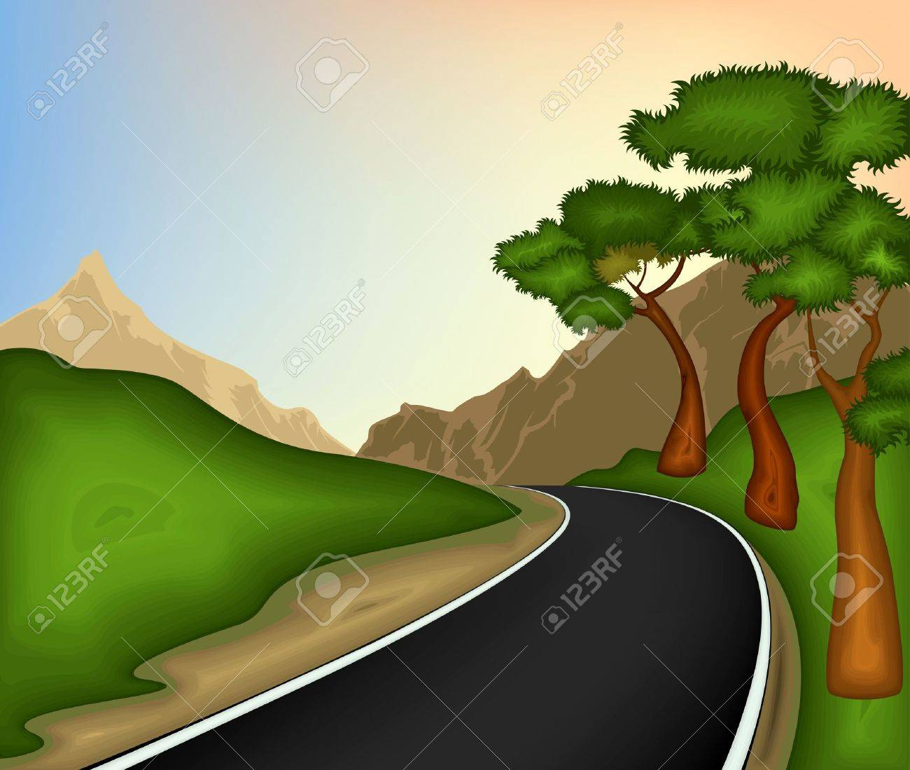 Road and nature background Stock Vector - 14029575
