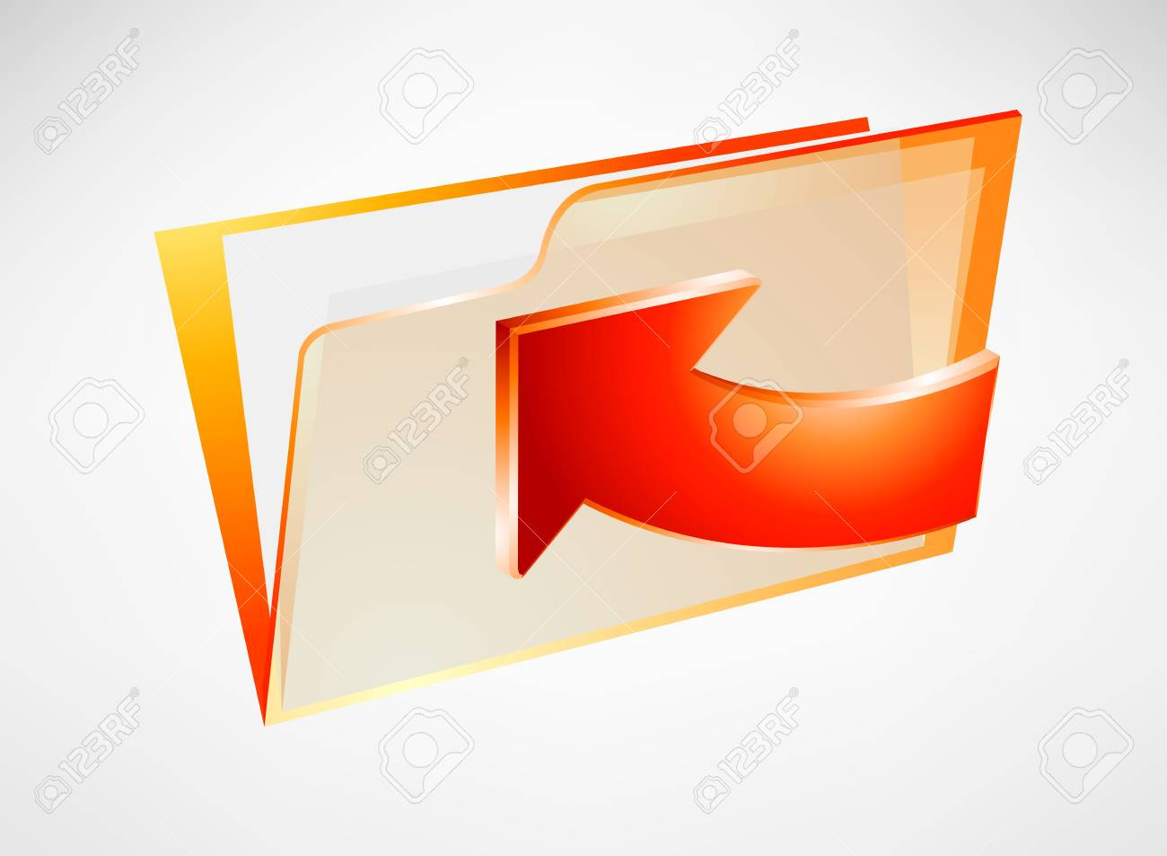 Red folder with arrow Stock Vector - 17128877